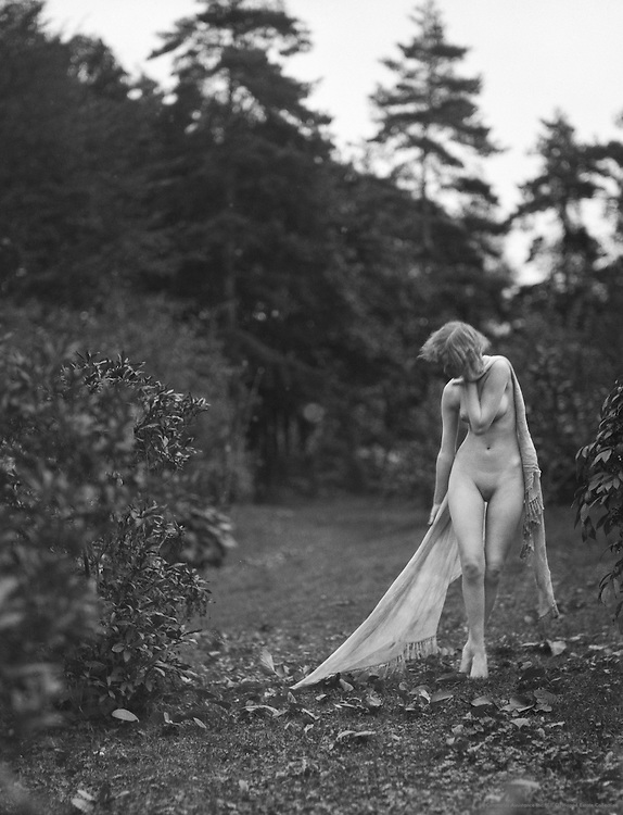 Eileen Hawthorne, nude in the forest, 1923