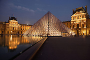 Glass pyramid by I. M. Pel, rising from the centre of the Cour Napoléon, surrounded by Pavillon Denon and Sully, Louvre Museum, Paris, France. Inaugurated March 30, 1989. Picture by Manuel Cohen