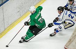 Gregor Koblar of SZ Olimpija vs Daniel Maffia of Broncos during ice hockey match between HK SZ Olimpija and WSV Sterzing Broncos Weihenstephan (ITA) in Round #12 of AHL - Alps Hockey League 2018/19, on October 30, 2018, in Hala Tivoli, Ljubljana, Slovenia. Photo by Vid Ponikvar / Sportida