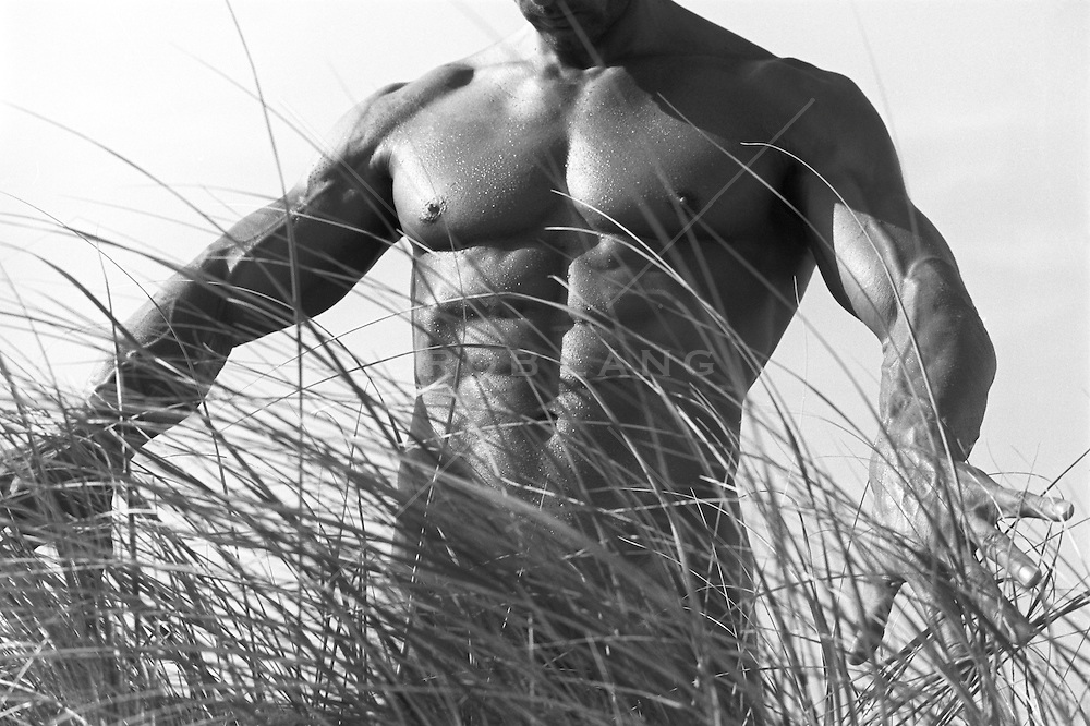 detail of a man's upper body while walking through tall grass