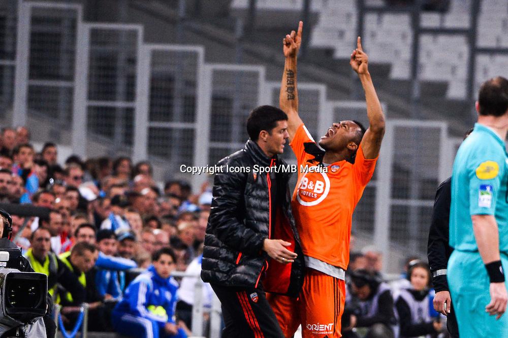 Joie Benjamin GENTON / Jordan AYEW - 24.04.2015 - Marseille / Lorient - 34eme journee de Ligue 1<br />Photo : Gaston Petrelli / Icon Sport