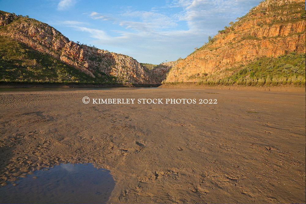 Low tide reveals an extensive sandbank in Cyclone Creek, Talbot Bay on the Kimberley coast.