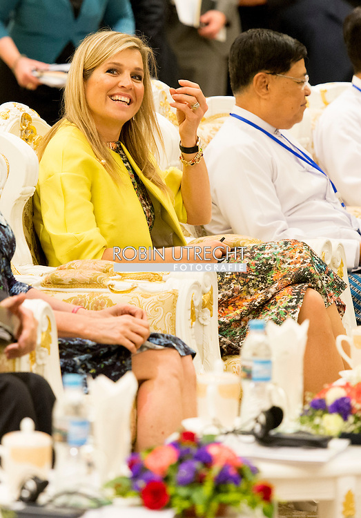 1-4-2015 Nay Pyi Taw  MYANMAR  -Lancering van de 'Financial Inclusion Road Map' in de Cermonial Hall in. Queen Maxima visits in its capacity as special advocate of the Secretary-General of the United Nations for inclusive finance for development (inclusive finance for development) Myanmar on Monday, March 30 to Wednesday, April 1st, 2015. COPYRIGHT ROBIN UTRECHT