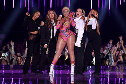 Leigh-Anne Pinnock, Jade Thirlwall, Perrie Edwards and Jesy Nelson of Little Mix and Nicki Minaj (centre) on stage during the MTV Europe Music Awards 2018 held at the Bilbao Exhibition Centre, Spain