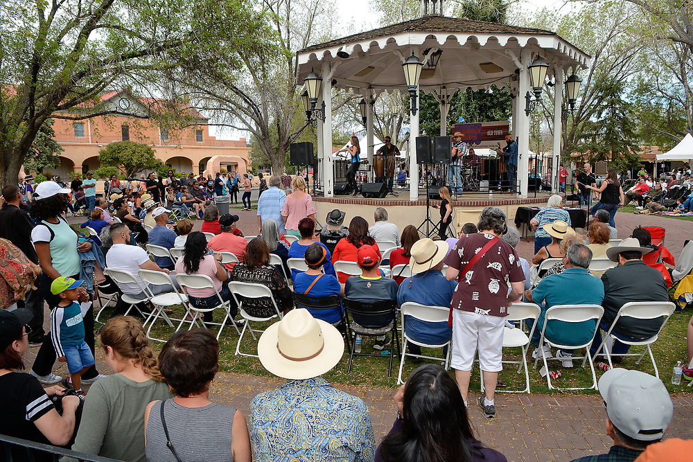 jt040817f/a sec/jim thompson/   Tanya Griego and her band  preform in Old Town Plaza  during the Fiesta de Albuquerque. Saturday April 08, 2017. (Jim Thompson/Albuquerque Journal)