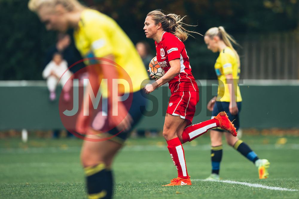 Claire Emslie of Bristol City Women celebrates scoring a goal and runs back to speed up the restart - Rogan Thomson/JMP - 06/11/2016 - FOOTBALL - The Northcourt Stadium - Abingdon-on-Thames, England - Oxford United Women v Bristol City Women - FA Women's Super League 2.