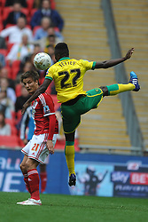 Norwich Alexander Tettey beats Middlesbrough Jelle Vossen, to the ball, Middlesbrough v Norwich, Sky Bet Championship, Play Off Final, Wembley Stadium, Monday  25th May 2015