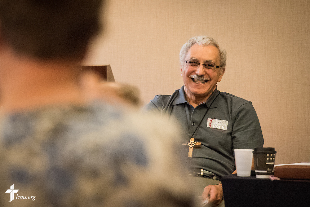 The Rev. Nabil Nour, LCMS Fifth Vice-President, reacts during an open hearing of Floor Committee #15 <br /> &quot;Reformation&quot; at the 66th Regular Convention of The Lutheran Church&ndash;Missouri Synod on Saturday, July 9, 2016, in Milwaukee. LCMS/Michael Schuermann