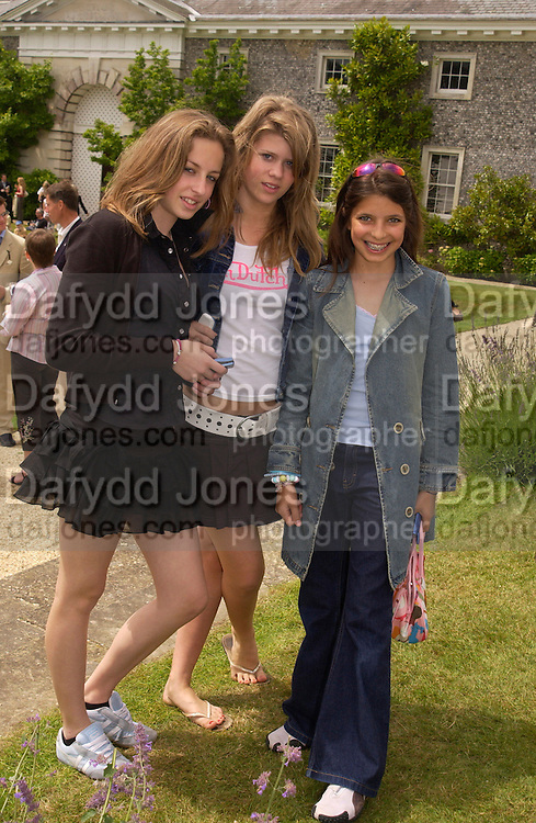 Poppy Pryde, Emelia Bamberger and Roya Sachs, Cartier Style Et Luxe, Goodwood, 27 June 2004. SUPPLIED FOR ONE-TIME USE ONLY-DO NOT ARCHIVE. © Copyright Photograph by Dafydd Jones 66 Stockwell Park Rd. London SW9 0DA Tel 020 7733 0108 www.dafjones.com