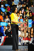 LAURA FONG |  First Lady Michelle Obama greets a crowd of 2,000 at Cuyahoga Community College in Cleveland.