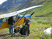 Hunters loading a Super Cub Airplane during a Dall Sheep in the Chugach Mountains of Alaska