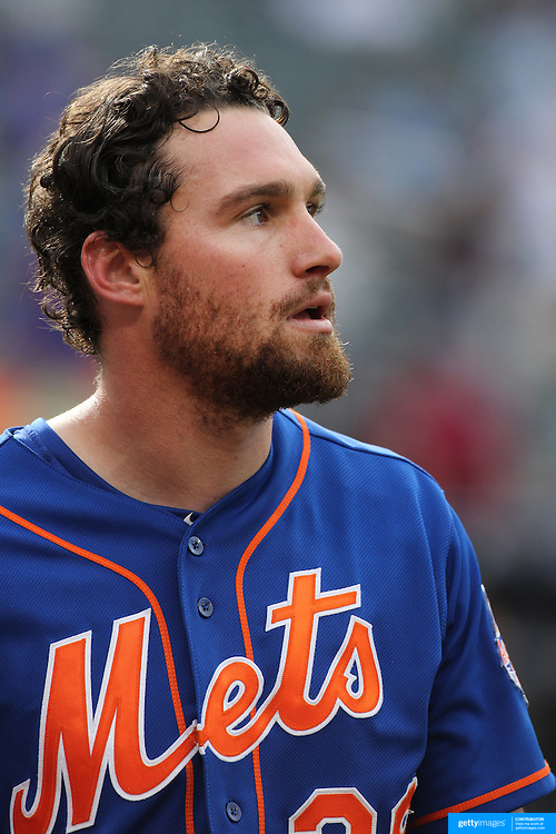 Daniel Murphy, New York Mets, during the New York Mets V Miami Marlins, Major League Baseball game which went for 20 innings and lasted 6 hours and 25 minutes. The Marlins won the match 2-1. Citi Field, Queens, New York. 8th June 2013. Photo Tim Clayton
