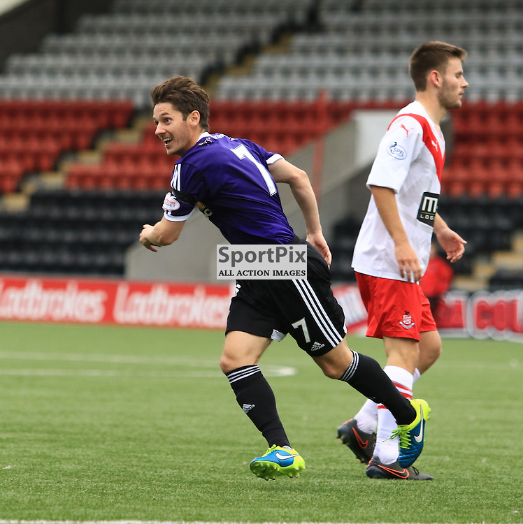 Ayr's Brian Gilmour celebrates after putting Ayr United 2-1 up during the Airdrieonians FC V Ayr United FC Scottish League One 19th September 2015 ©Edward Linton   SportPix.org.uk