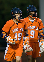 Virginia attackman Garrett Billings (19) reacts after scoring the first of his four first half goals.  The #3 ranked Virginia Cavaliers defeated the #8 ranked Maryland Terrapins 11-8 in the semi finals of the Men's 2008 Atlantic Coast Conference tournament at the University of Virginia's Klockner Stadium in Charlottesville, VA on April 25, 2008.