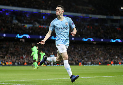 Manchester City's Phil Foden celebrates scoring his side's sixth goal of the game during the UEFA Champions League round of 16 second leg match at the Etihad Stadium, Manchester.