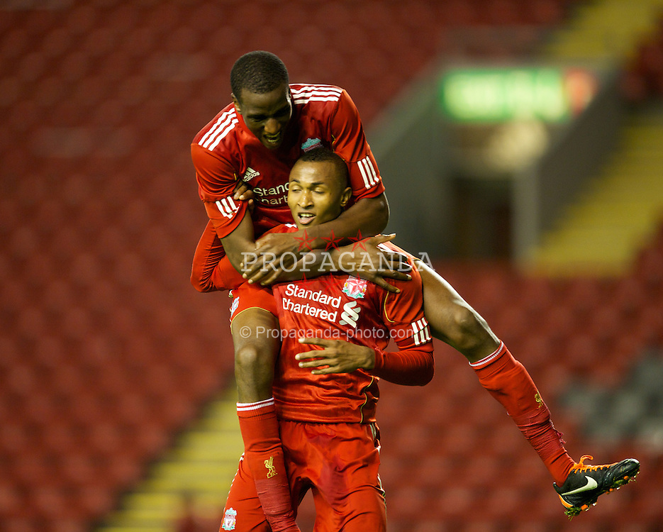 LIVERPOOL, ENGLAND - Thursday, September 29, 2011: Liverpool's Toni Brito De Silva celebrates scoring the third goal against Molde FK with team-mate Michael Ngoo during the NextGen Series Group 2 match at Anfield. (Pic by David Rawcliffe/Propaganda)