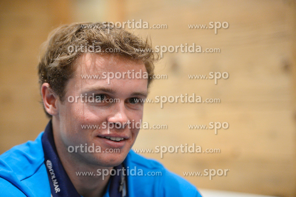13.12.2013, Teamhotel, Val d Isere, FRA, FIS Weltcup Ski Alpin, Val d Isere, Pressegespraech Frankreich Herrenteam, im Bild Alexis Pinturault (FRA) // during the press Conference of France mens Ski Team of the Val d Isere FIS Ski Alpin World Cup at the Teamhotel in Val d Isere, France on 2013/12/13. EXPA Pictures &copy; 2013, PhotoCredit: EXPA/ Pressesports/ Prevost<br /> <br /> *****ATTENTION - for AUT, SLO, CRO, SRB, BIH, MAZ, POL only*****