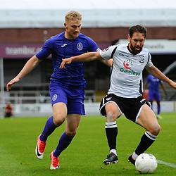 TELFORD COPYRIGHT MIKE SHERIDAN Chris Lait of Telford battles for the ball with Jared Hodgkiss of Hereford during the National League North fixture between Hereford FC and AFC Telford United at Edgar Street, Hereford on Tuesday, August 13, 2019<br /> <br /> Picture credit: Mike Sheridan<br /> <br /> MS201920-009
