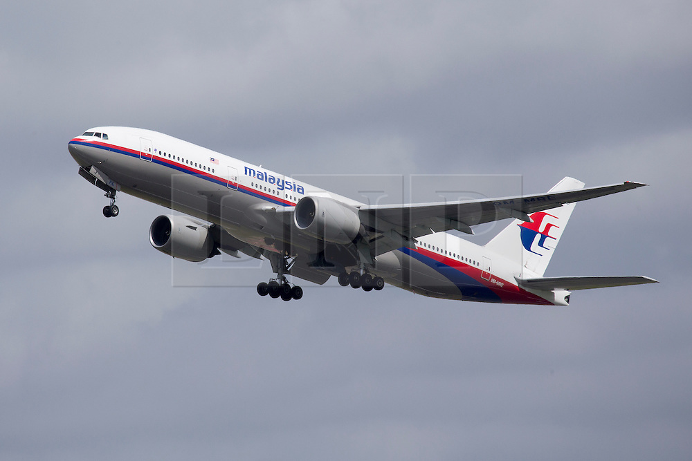 © Licensed to London News Pictures. FILE PHOTO. Pictured is a Malaysia Airlines Boeing 777-200, similar to the plane that has gone missing between Malaysia and Vietnam after vanishing on a flight to Beijing, with 239 people on board. Photo credit: Ian Schofield/LNP