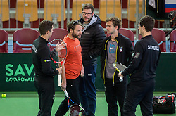 Andraz Bedene, Gorazd Gavrilov, Nik Razborsek and Miha Mlakar of Slovenia at warming up during the Day 2 of Davis Cup 2018 Europe/Africa zone Group II between Slovenia and Poland, on February 4, 2018 in Arena Lukna, Maribor, Slovenia. Photo by Vid Ponikvar / Sportida