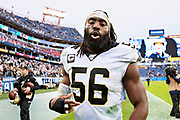 NASHVILLE, TN - DECEMBER 22:  Demario Davis #56 of the New Orleans Saints talks on his way off the field after a game against the Tennessee Titans at Nissan Stadium on December 22, 2019 in Nashville, Tennessee. The Saints defeated the Titans 38-28.  (Photo by Wesley Hitt/Getty Images) *** Local Caption *** Demario Davis