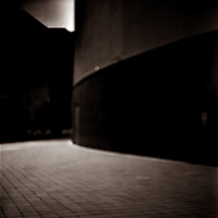 A path and blurred architecture with dramatic angles