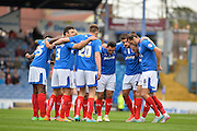 Portsmouth players during the Sky Bet League 2 match between Portsmouth and Accrington Stanley at Fratton Park, Portsmouth, England on 5 September 2015. Photo by Adam Rivers.