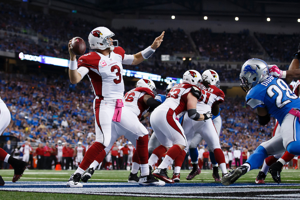 Arizona Cardinals quarterback Carson Palmer (3) passes against the Detroit Lions during an NFL football game at Ford Field in Detroit, Sunday, Oct. 11, 2015. (AP Photo/Rick Osentoski)
