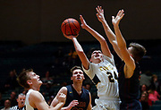 Mitchell's Carter Jacobsen (24) draws the foul from Harrisburg's Cale Murphy (24) while shooting in front of Tate Larson, left, during a game on Tuesday night at the Corn Palace. (Matt Gade / Republic)