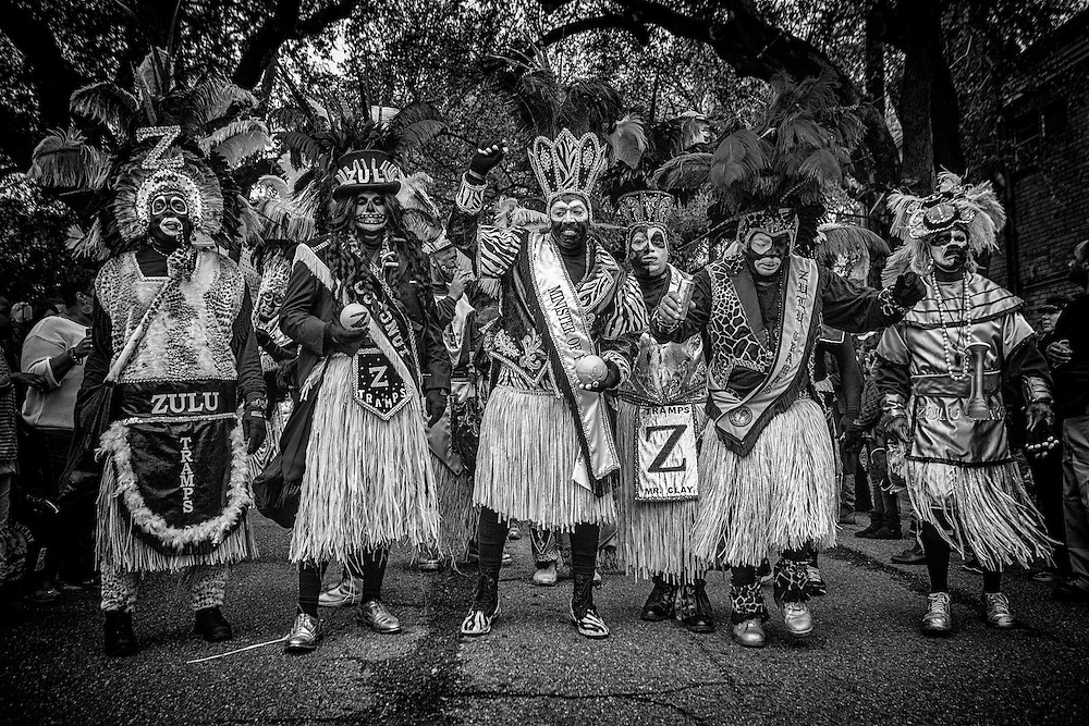 The Zulu Tramps! Members of the Zulu Social Aid & Pleasure Club pose while marching in the Zulu Parade on Jackson Avenue, the first parade on the morning of Mardi Gras Day on February 12, 2013 in New Orleans, Louisiana.