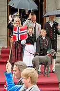 17-5-2015 Skaugum NORWAY  National Feast day King Harald, Queen Sonja, Crownprince Haakon, Crownprincess Mette-Marit, Princess Ingrid Alexandra, Prince Sverre Magnus of Norway celebrate the National Day at the Royal Palace in Oslo, Norway, 17 May . and Marius Borg Hoiby and dog Milly celebrating the national day at the residence in Skaugum, Norway.  COPYRIGHT ROBIN UTRECHT