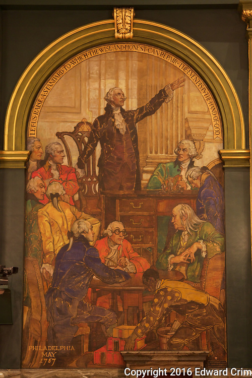 "Part of Violet Oakley's painting ""The Creation of the Union"" Washington at the Constitutional Convention 1787 on the north wall of the Pennsylvania capitol's Senate chamber in Harrisburg."