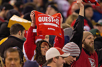 "12 January 2013: A fan of the San Francisco 49ers holds up a towel that reads ""Quest for Six"" during the 49ers 45-31 victory over the Green Bay Packers in an NFL Divisional Playoff Game at Candlestick Park in San Francisco, CA."