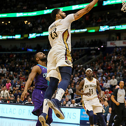Mar 13, 2018; New Orleans, LA, USA; New Orleans Pelicans forward Anthony Davis (23) shoots over Charlotte Hornets guard Kemba Walker (15) during the fourth quarter of a game at the Smoothie King Center. The Pelicans defeated the Hornets 119-115.  Mandatory Credit: Derick E. Hingle-USA TODAY Sports