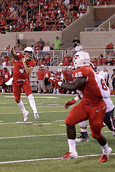 NORMAL, IL - September 01: Brady Davis passes to Timothy McCloyn II during a college football game between the ISU (Illinois State University) Redbirds and the Saint Xavier Cougars on September 01 2018 at Hancock Stadium in Normal, IL. (Photo by Alan Look)