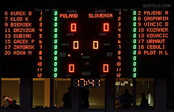 Score board during volleyball match between National teams of Poland and Slovenia in Quarterfinals of 2015 CEV Volleyball European Championship - Men, on October 14, 2015 in Arena Armeec, Sofia, Bulgaria. Photo by Ronald Hoogendoorn / Sportida