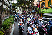 Motorbikes on a crowded street in District 1 in Ho Chi Minh City, Vietnam.