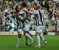 Photo: Rich Eaton.<br /> <br /> West Bromwich Albion v Leeds United. Coca Cola Championship. 30/09/2006. Martin Albrechtsen far left of West Brom celebrates scoring the first goal of the game