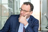 19 AUG 2019, BERLIN/GERMANY:<br /> Jens Spahn, CDU, Bundesgesundheitsminister, waehrend einem Doppel-Interview mit F ranziska G iffey (nicht im Bild), SPD, Bundesfamilienministerin, und , Redaktionsvertretung der Rheinischen Post<br /> IMAGE: 20190819-01-050