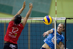 Petra Kramolc vs Am're Solomon during volleyball match between Calcit Volleyball and A. Linz-Steg in Mevza league on October 23, 2010 at Sport Halli, Kamnik, Slovenia. (Photo By Matic Klansek Velej / Sportida.com)