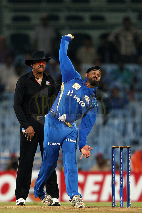Harbhajan Singh during the 2nd Semi Final of the NOKIA Champions League T20 ( CLT20 ) between Somerset and the Mumbai Indians held at the M. A. Chidambaram Stadium in Chennai , Tamil Nadu, India on the 8th October 2011..Photo by Ron Gaunt/BCCI/SPORTZPICS