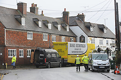© Licensed to London News Pictures. 06/01/2014<br /> Removal vans and workmen in Yalding Village.<br /> Yalding village Flood water starts receding again as a clear up operation starts.<br /> The village in Kent also gets a visit from the new Kent Police Chief Constable Alan Pughsley and Kent Police Commissioner Ann Barnes who walked around Little Venice Country Park meeting residents.  Alan Pughsley has been in the post since January 4th 2014.<br /> Photo credit :Grant Falvey/LNP