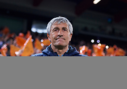 February 28, 2019 - Valencia, U.S. - VALENCIA, SPAIN - FEBRUARY 28: Quique Setien, head coach of Real Betis Balompie looks during the Copa del Rey match between Valencia CF and Real Betis Balompie at Mestalla stadium on February 28, 2019 in Valencia, Spain. (Photo by Carlos Sanchez Martinez/Icon Sportswire) (Credit Image: © Carlos Sanchez Martinez/Icon SMI via ZUMA Press)