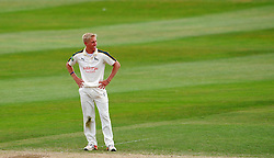 Dejection for Nottinghamshire's Luke Wood. - Photo mandatory by-line: Harry Trump/JMP - Mobile: 07966 386802 - 17/06/15 - SPORT - CRICKET - LVCC County Championship - Division One - Day Four - Somerset v Nottinghamshire - The County Ground, Taunton, England.