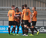 Barnet striker Josh Clarke is mobbed after opening the scoring during the Sky Bet League 2 match between Barnet and Exeter City at The Hive Stadium, London, England on 31 October 2015. Photo by Bennett Dean.