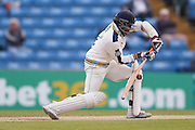 Forward defensive from Yorkshire All-rounder Adil Rashid  during the Specsavers County Champ Div 1 match between Yorkshire County Cricket Club and Surrey County Cricket Club at Headingley Stadium, Headingley, United Kingdom on 10 May 2016. Photo by Simon Davies.