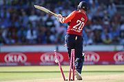 Jason Roy bowled by Umesh Yadav during the International T20 match between England and India at Old Trafford, Manchester, England on 3 July 2018. Picture by George Franks.