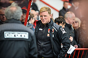 Bournemouth Manager Eddie Howe during the Barclays Premier League match between Bournemouth and Chelsea at the Goldsands Stadium, Bournemouth, England on 23 April 2016. Photo by Adam Rivers.