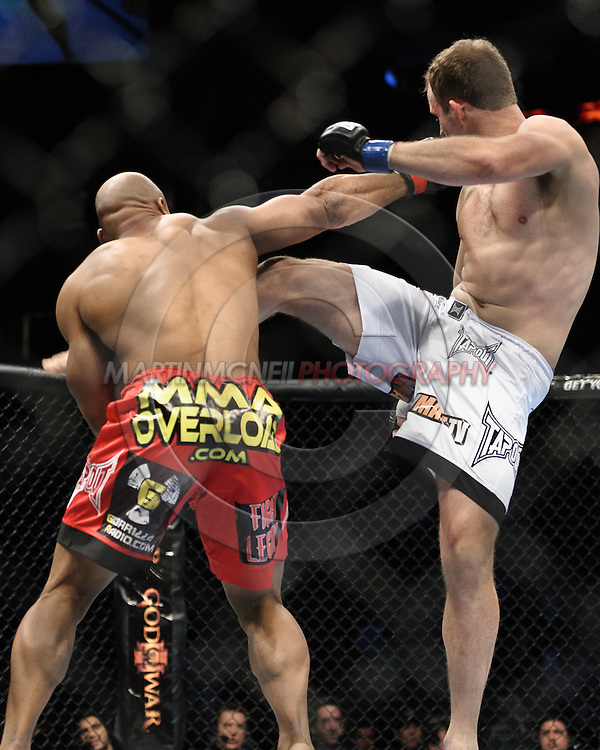 "NEWARK, NEW JERSEY, MARCH 27, 2010: Rodney Wallace (left) and Jared Hamman are pictured during their bout at ""UFC 111: St. Pierre vs. Hardy"" in the Prudential Center, New Jersey on March 27, 2010"
