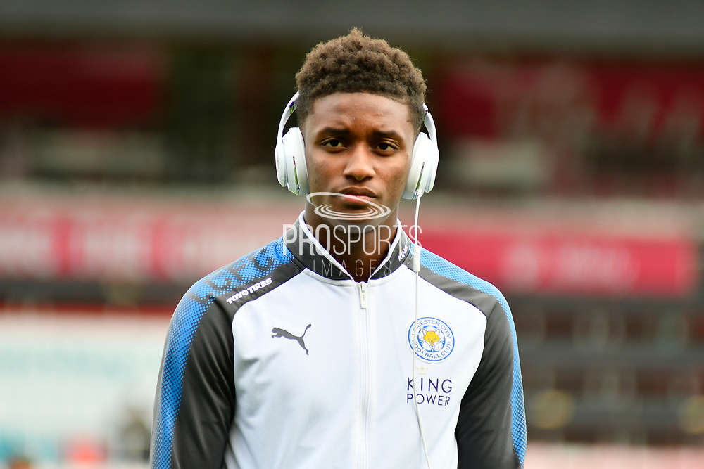 Demarai Gray (7) of Leicester City with his Beats headphones on as he walks the pitch before the Premier League match between Bournemouth and Leicester City at the Vitality Stadium, Bournemouth, England on 30 September 2017. Photo by Graham Hunt.